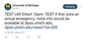 UM-EAlert example tweet