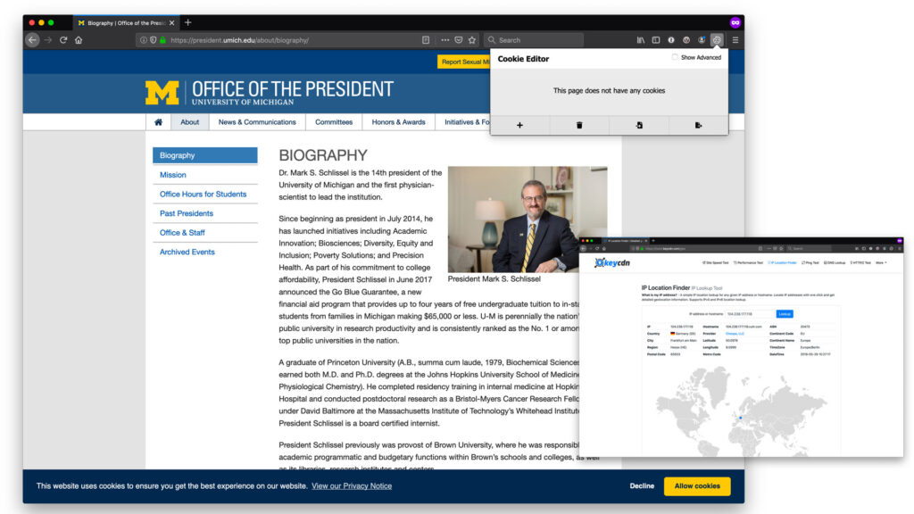 Screen capture showing the President's site as viewed for the first time from an EU member state (in this example, Germany).
